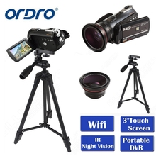 Wholesale prices ORDRO HDV-D395 Portable Camcorders Night Vision Full HD 1080P 18X 3.0″ Touch Screen Digital Video Camera Recorder DV Wifi