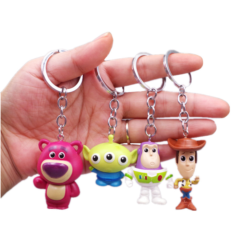 Toy Story 4 Woody Buzz Lightyear PVC Action Figure Keychain Set Doll Toys Children's Gifts