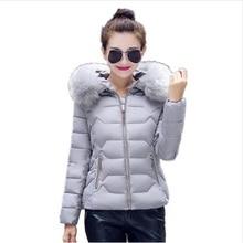 2016 Women Jackets Coats Solid Slim Thick Large Fur Collar Hood short Parkas Jacket Winter Coat Plus Size S-XXL
