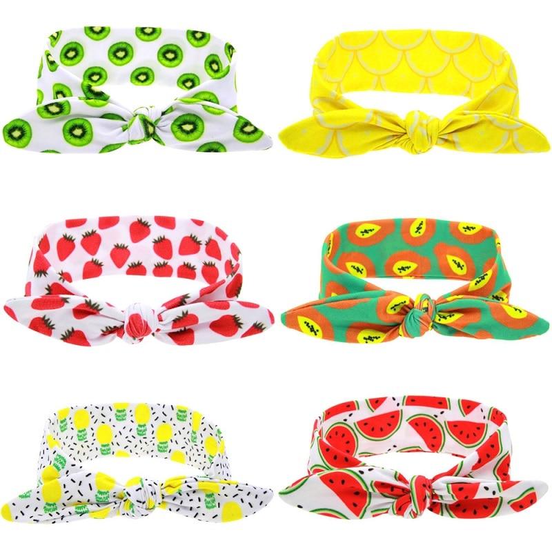 Naturalwell Lemonade Fruit Headwraps Fruit TieKnot Pineapple Turban Tropical Head Wrap Summer Girls Bow Tied Head Wrap 1pc HB099