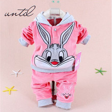 Children's clothing in winter baby boys and girls dress in fashion Hooded Sweater + pants 2 piece 1-4 years old children's cloth
