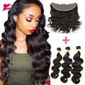 Brazilian Body Wave with Closure 7A Ear to Ear Lace Frontal Closure with Bundles 3 Bundles Brazilian Virgin Hair with Closure