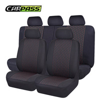 Full Set Jacquard Cloth 75G Black Mesh Complex Universal Auto Seat Cover Fit Most Styling
