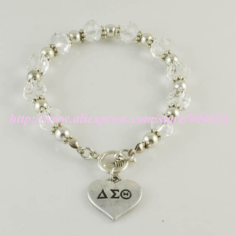Delta Sigma Theta Sorority sliver heart charm Bracelet DST sliver Crest charm bracelet bangle