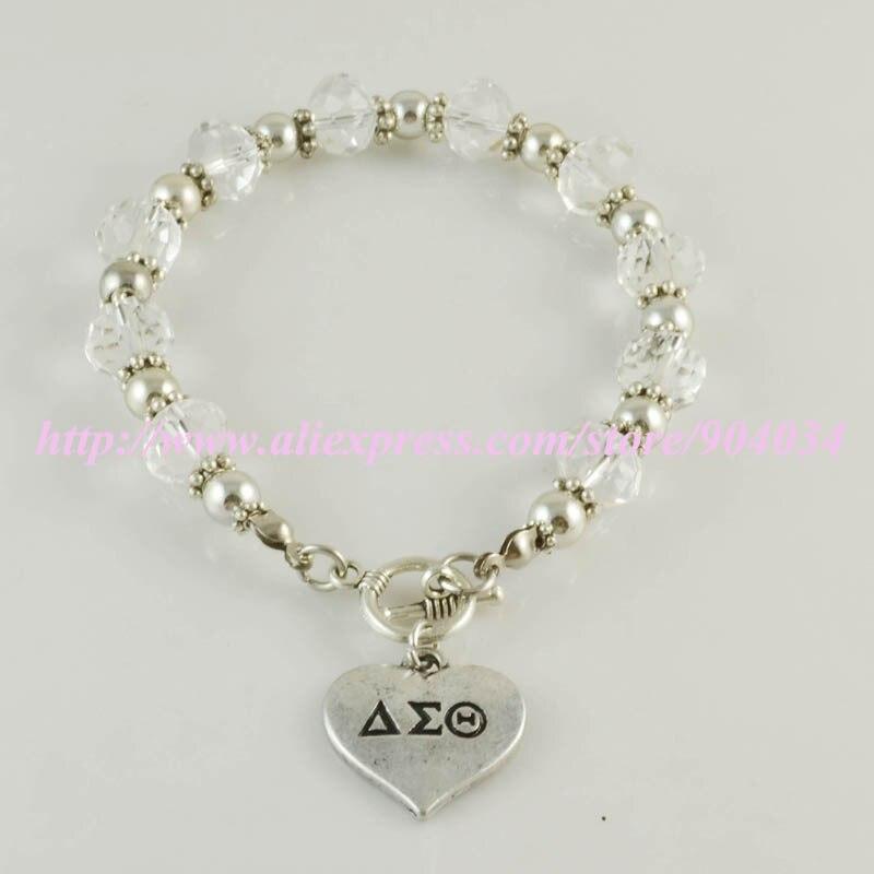 Delta Sigma Theta Sorority sliver herzanhänger charme Armband DST splitter Crest charme armband armreif
