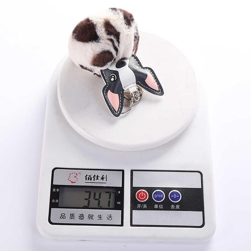 กระต่ายขนปุยลูกภาษาฝรั่งเศส Bulldog พวงกุญแจ Pompom พวงกุญแจ Pu หนังสัตว์สุนัขพวงกุญแจผู้หญิงกระเป๋า Charm Trinket