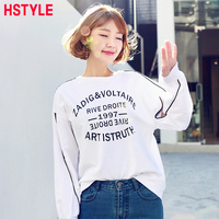 HSTYLE 2018 Women Sexy Holes T Shirt O Neck With Long Sleeve Loose Ripped Hollow Out