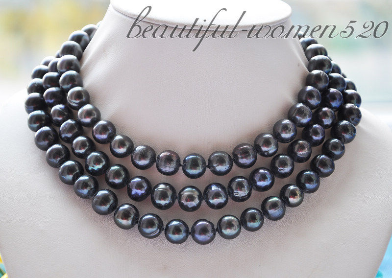 Z2761 12mm round black Freshwater cultured pearl necklace 50inch 50 12mm round black freshwater cultured pearl necklace