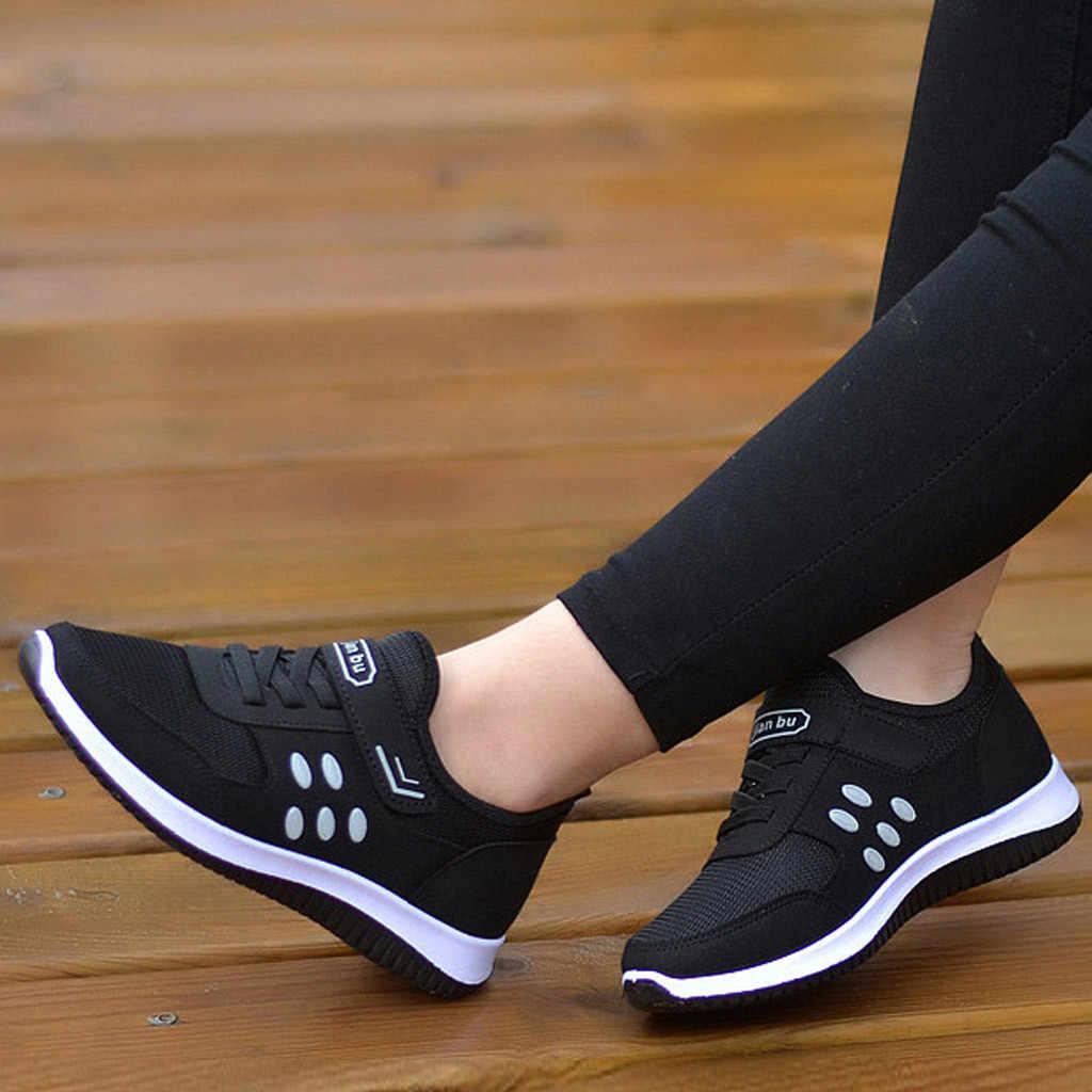 Nouveau loisirs plat pour les femmes en plein air maille couleur unie sport femme chaussures Runing respirant chaussures baskets zapatos tacon muj