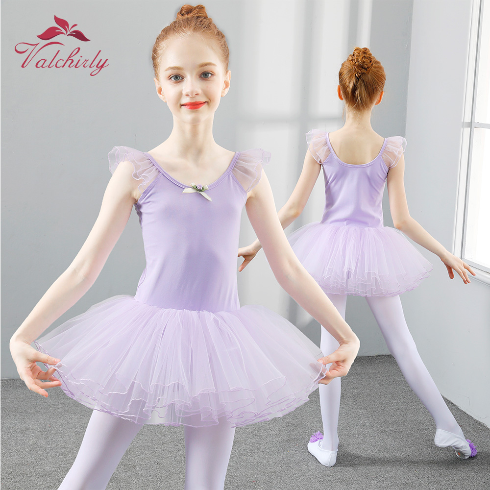 US Toddler Kid Girl Dance Dress Ballet Gymnastics Leotard Tutu Dancewear Costume