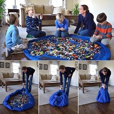 Juguetes para bebés de juguete grande bolsas bolsa de terminar rápido pad casa de juego de gran tamaño doble tela manteles