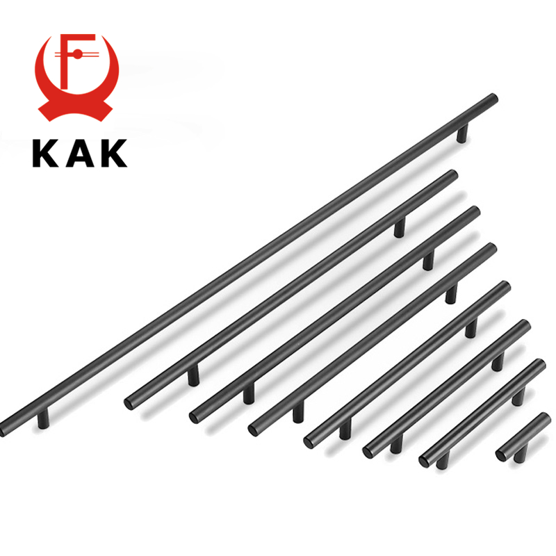 KAK 2 ~ 24'' Kitchen Door T Bar Straight Handle Knobs Cabinet Pull Diameter 10mm Stainless Steel Handles Furniture Hardware new 2pcs lot 304 stainless steel handles hidden recessed invisible pull fire proof door handles cabinet knobs furniture hardware