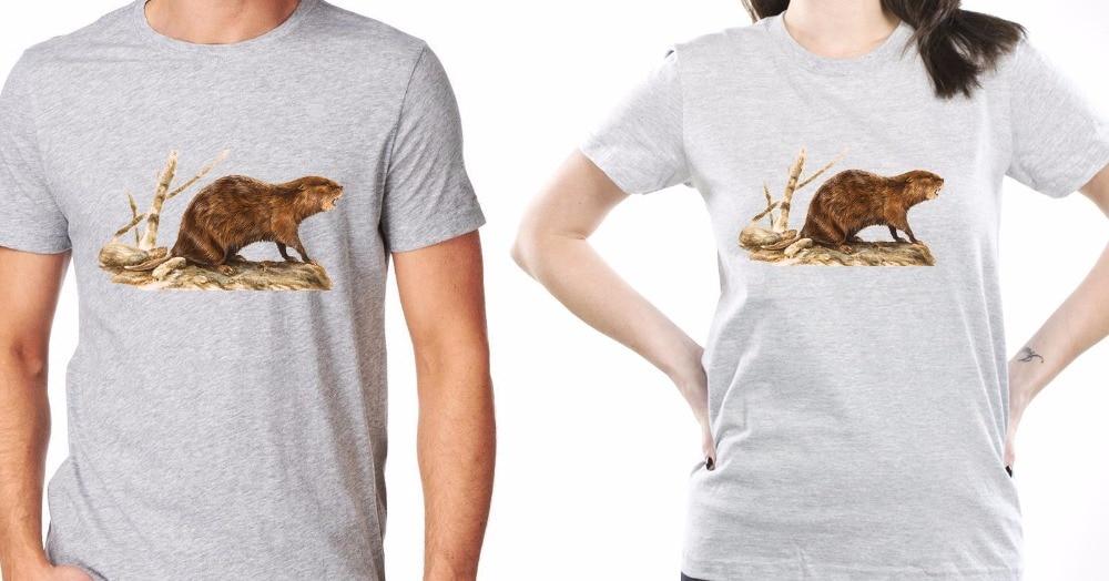 2018 New Tee Shirts Printing Korean T-Shirts Aggressive Beaver Funny Animal T-Shirt Gray Men Women Printed Tee Shirts