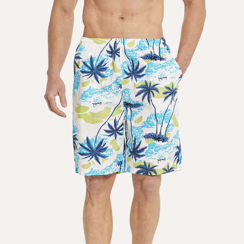 Men Beach   Shorts   Cotton Fabric Kneel Length Drawstring Quick Dry Plus Size   Board     Shorts   Swimming Surfing Beach Pants Running