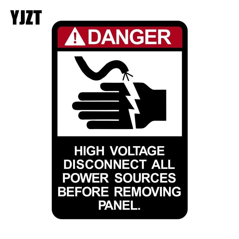 YJZT 8*12cm Cartoon Danger High Voltage Disconnect All Power Sources WARNING Retro-reflective Car Sticker Decals C1-8177 inov 8 сумка all terrain kitbag black