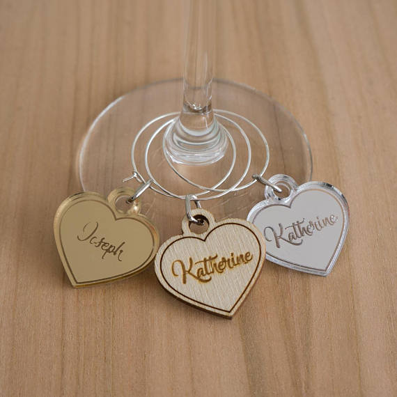 Laser Cut Gold Platinum: Personalized Love Heart Wine Charms, Laser Cut Gold Silver