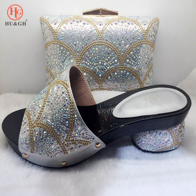 Women Party shoes with purse sets Silver Crystal High heels platform shoes with matching bag Paty Dress shoes insole woman Pumps aidocrystal silver color open toe pumps ladies high heels wedding party crystal slingback shoes with matching bag