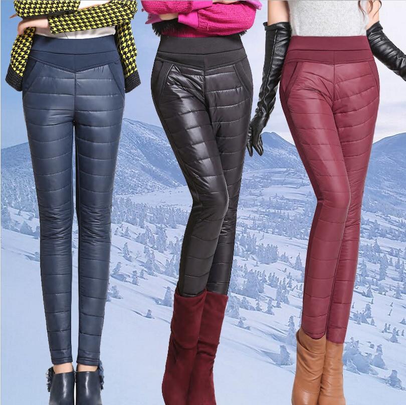 New 2018 Winter Women Pants Fashion Stitching Slim Warm Windproof Down Pants Plus Thick Velvet Trousers Pants Feet