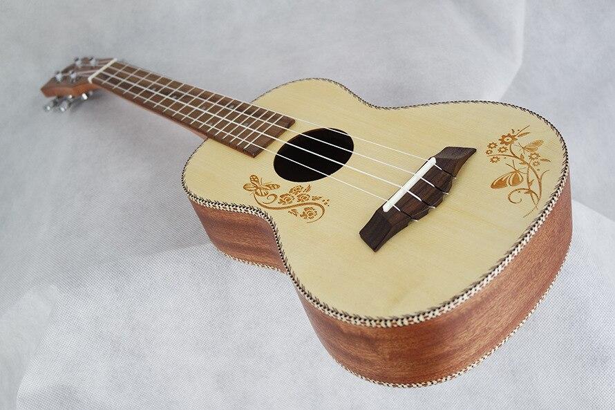 SevenAngel Concert ukulélé acoustique 23 pouces épicéa hawaïen guitare électrique Ukelele papillon amour fleur motif avec ramassage EQ - 3