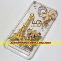 1 Pcs Bling Eiffel Tower Bear Love Buttyfly Style Case Cover For Alcatel One Touch Idol