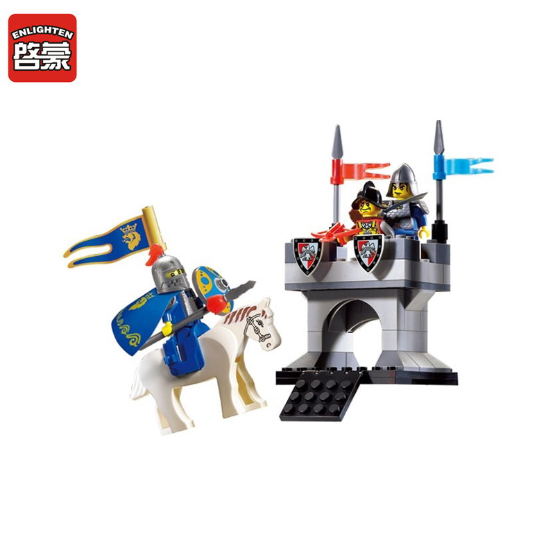 ENLIGHTEN 1015 Knights Castle Series Horse Knight Tower Beacon Figure Blocks Compatible Legoe Building Toys For Children castle and knight