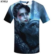 KYKU Wolf T shirt Women Beauty Plus Size Sexy Tshirt Jungle