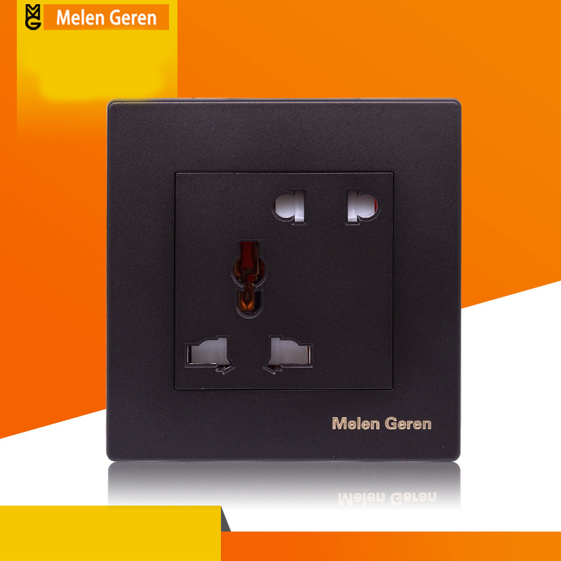 Home Universal Power Wall Socket Electrical 5 Hole Electric AC Outlet Panel Plate Charger Dock 220V 10A Black