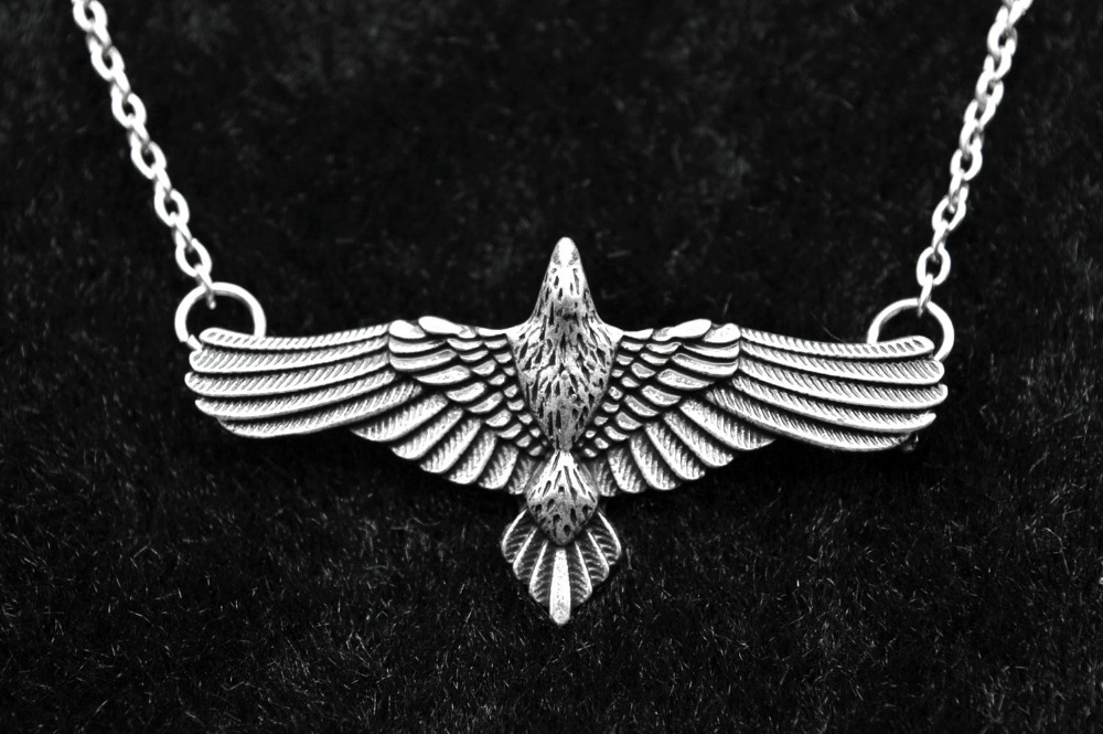 Celtic Bird Pendant Raven Necklace Viking Zinc Alloy Pagan Wing Nordic Norse
