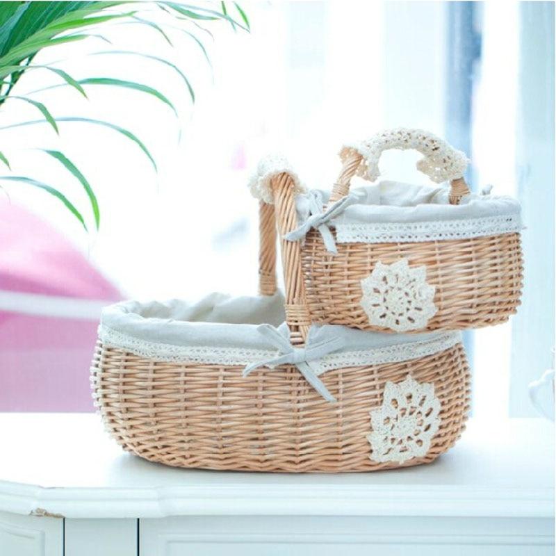 Handmade Cotton Baskets : Fresh zakka handmade wicker basket with cotton fabric lace