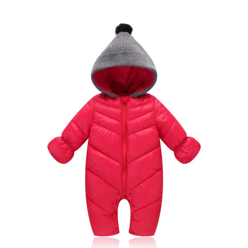 a2c0f27a55dc0 Baby Solid Rompers Winter Baby Boy Snowsuit Romper Toddler Cotton One piece  Suit Infant Warm Hoody Jumpsuit Coverall For Newborn-in Rompers from Mother  ...