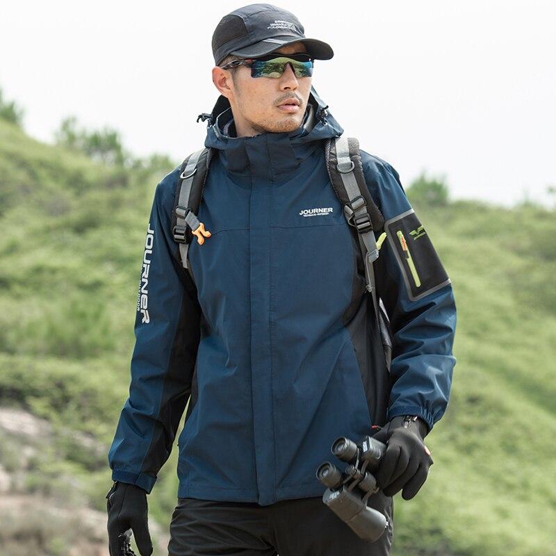 2019 New Men Hiking Windbreak Thermal 2 In 1 Jacket Outdoor Sport Winter Jacket Anti-scratch Waterproof Mountaineering clothing