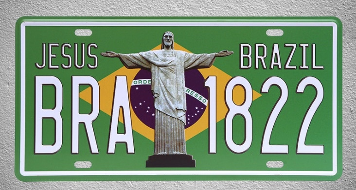 1 pc Brazil Flag Jesus America Rio de Janeiro plaques shop store Tin Plates Signs wall Decoration Metal Art Vintage Poster in Plaques Signs from Home Garden