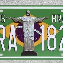 1 unidad, bandera de Brasil, Jesús, América, Rio de Río, tienda de placas, carteles de hojalata, decoración de pared, cartel de Arte de Metal Vintage