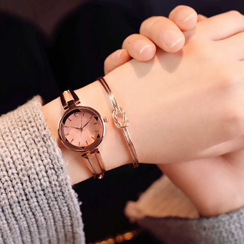 New Fashion Rose Gold Watches Women Luxury Brand Stainless Steel Bracelet watches Ladies Quartz Dress Watches Ladies Clock
