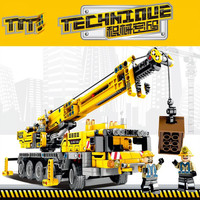 665pcs Diy Building Blocks Technic Machine Crane Car Educational Model Compatible with Legoingly Toys for Children Kids Gift