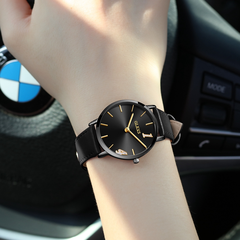 OLEVS Top Brand Fashion Ladies Watches Leather Female Quartz Watch Women Thin Casual Strap Watch for girl gift Reloj Mujer comtex ladies watch spring casual yellow leather women wristwatch for girl new fashion quartz calendar watches reloj clock gift
