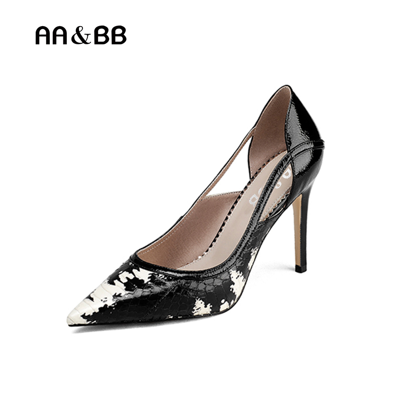 AA&BB 2018 spring and autumn serpentine pointed toe thin heels women shoes elegant snake skin high heel slip-on shallow pumps yuanyu 2018 new hot free shipping real python skin snake skin color women handbag elegant color serpentine fashion leather bag
