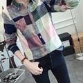 Ladies Casual Cotton Long Sleeve Plaid Shirt Women Slim Outerwear Blouse Tops Size