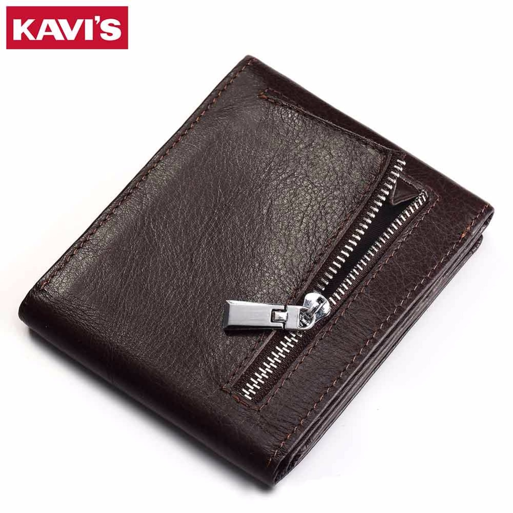 KAVIS Genuine Leather Wallet Men Coin Purse Male Small Walet Portomonee Mini PORTFOLIO Slim Vallet Male Cuzdan Card Holder Perse joyir vintage men genuine leather wallet short small wallet male slim purse mini wallet coin purse money credit card holder 523