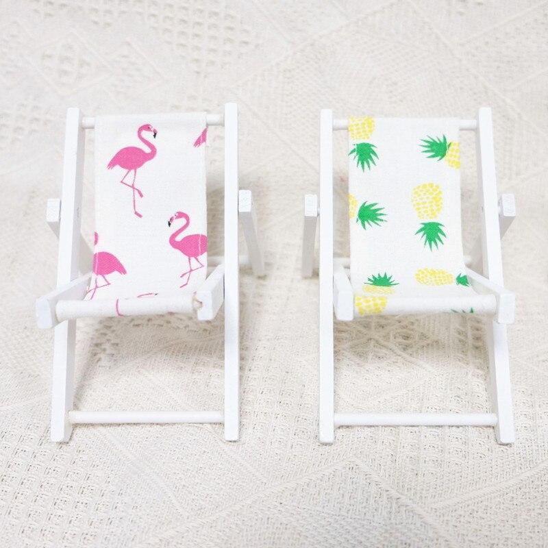 1 Pcs Kawaii Mini Flamingo Wooden Beach Chair Pineapple Decor For Birthday Gifts Furniture Dollhouse Accessories Craft Supplies Online Shop Home