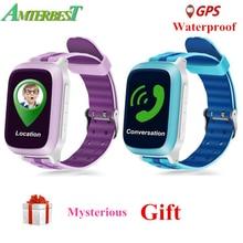 AMTERBEST DS18 Relógio Inteligente Crianças dos miúdos do bebê WiFi GPS Localizador Rastreador SOS Chamada SMS Cartão SIM Suporte À Prova D' Água PK Q50 q90 Q10