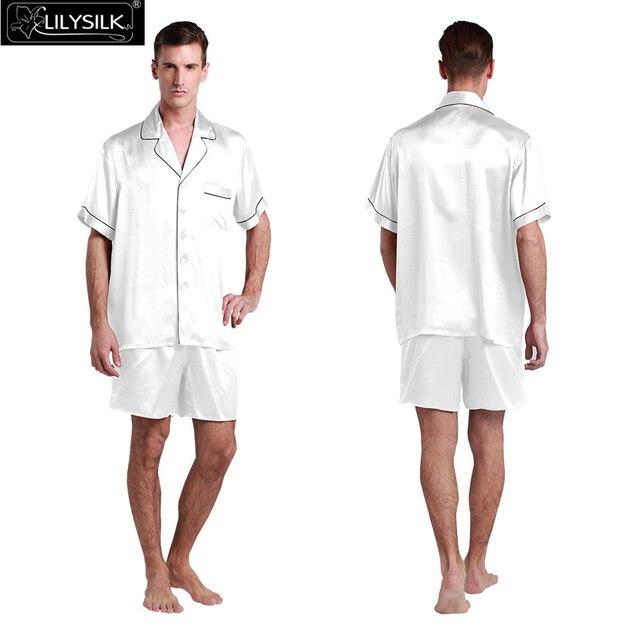 Lilysilk Men Pajamas Sets Nightwear Pure Silk Satin Short Sleeve Shirt Shorts Sexy Male 22mm Contrast Trim Sleepwear Lounge