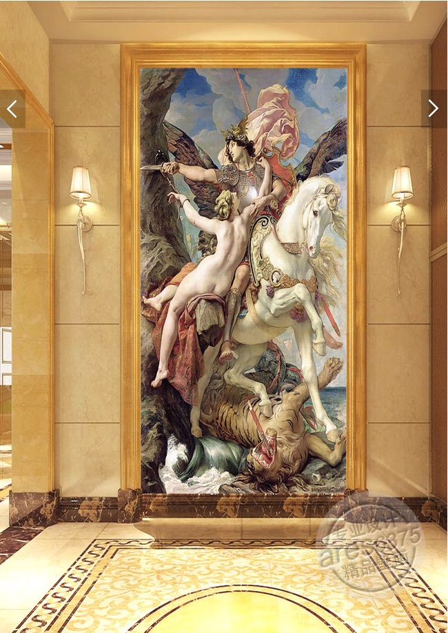 3d room wallpaper custom mural non-woven Wall sticker Ares white tiger naked women porch painting photo wallpaper for walls 3d