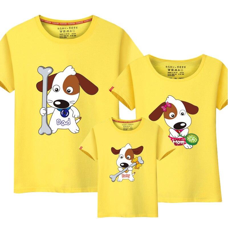 2018 летние футболки для мальчиков Семейные комплекты футболки смешная собака печать для мамы и дочки Одинаковая одежда для мамы и дочки для ...