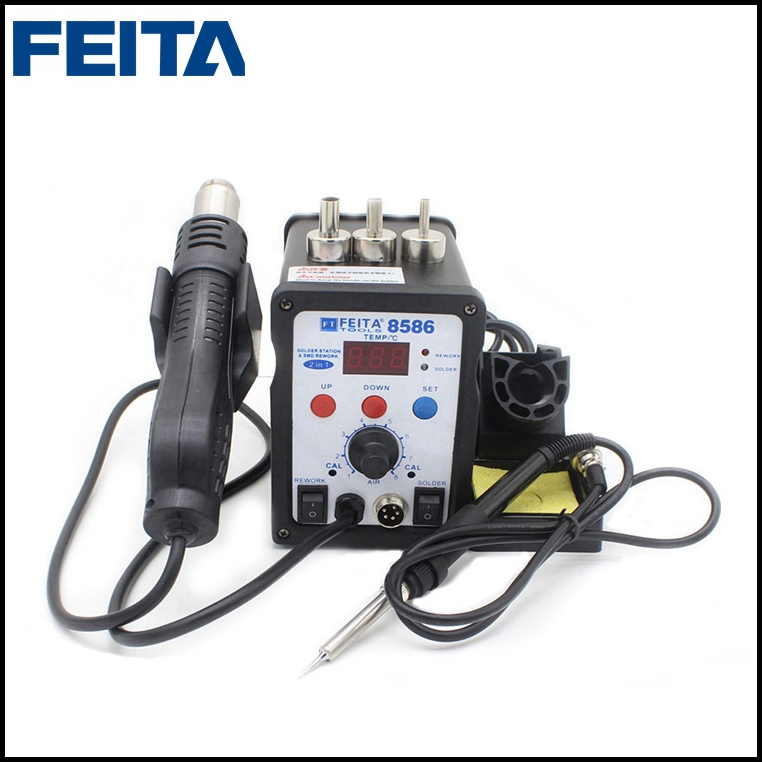 FEITA FT-8586 Desoldering Air Gun Nozzles + Soldering Iron 2 in 1 Electric Rework Soldering Station for Mobile Phone Repairing mig mag burner gas burner gas linternas wp 17 sr 17 tig welding torch complete 17feet 5meter soldering iron air cooled 150amp
