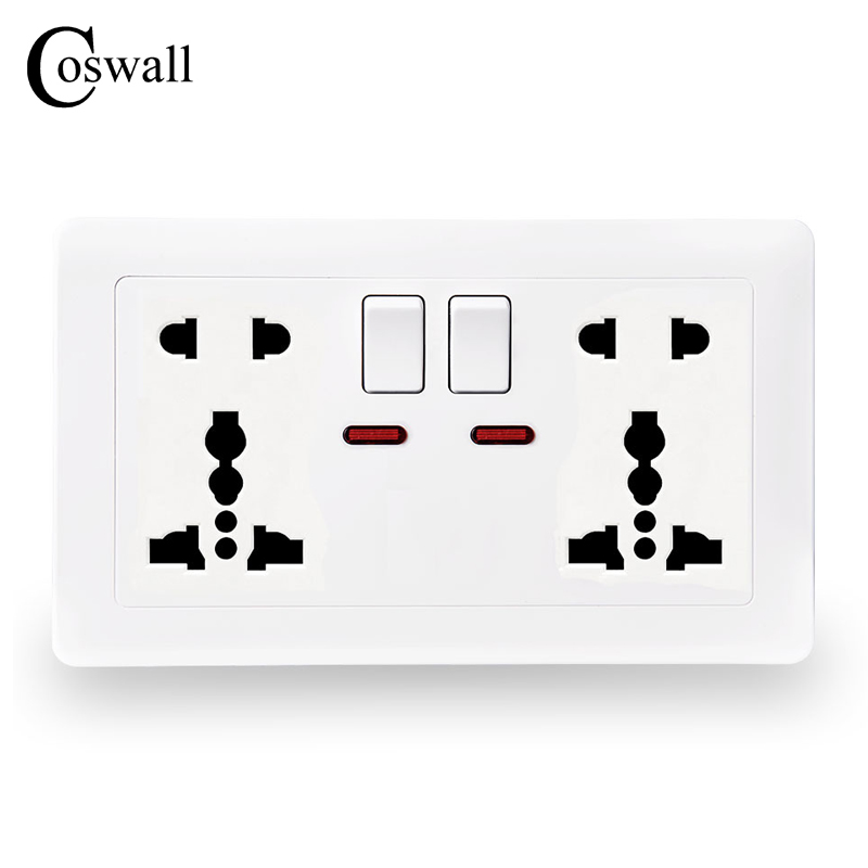 Coswall Wall Power Socket 13A 2 Gang Universal 5 Hole Switched Outlet With Red Neon Indicator White Color accor white five hole wall socket manufacturers 5 hole power outlet household switch socket