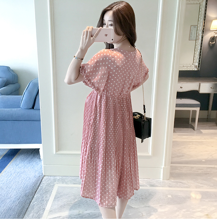 Casual Long Pregnancy Dresses For Women Short Sleeve Loose Maternity Dresses Summer New Chiffon Pregnant Dress Maternity Clothes (8)