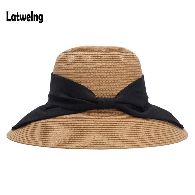 2018 nuevas mujeres de verano de paja sombreros de sol dama plegable  sombrero de playa de b6ddf530682