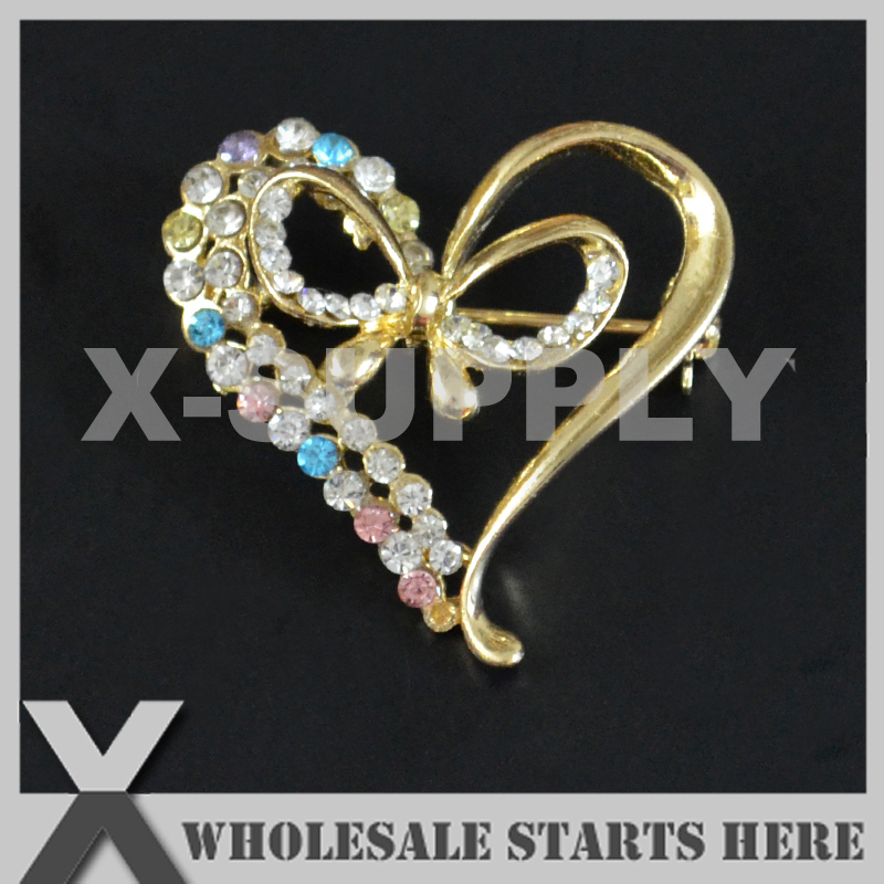 34x33mm HEART Gold Metal Rhinestone Brooch with Safety Pin Backing,Used for Party Evening Wedding Dress,Decorations