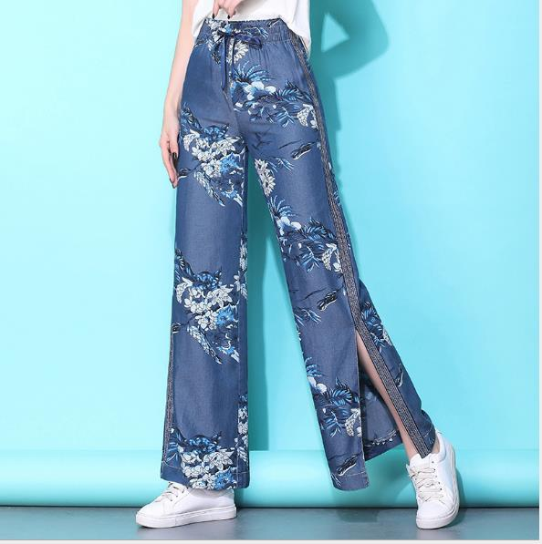 Split printing lady wide leg   pants   women Summer beach high waist trousers Chic streetwear sash casual   pants     capris   female xl-4xl